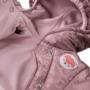 Kép 2/3 - Bélelt metálos lila kapucnis baba overál ADVENTURE közelről