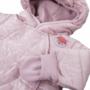 Kép 2/2 - Bélelt világos rózsaszínű kapucnis baba overál ADVENTURE közelről