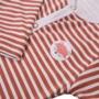 Kép 2/2 - Rozsdapiros csíkos baba pizsama ADVENTURE közelről